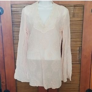 Johnny Was pink eyelet tunic
